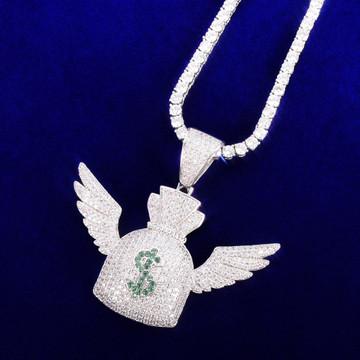 Money Flying To Me Dollar Sign Wings Money Bag Gold Silver Rose Gold Hip Hop Pendant