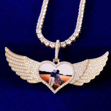 18k Gold 925 Silver Rose Gold Solid Back Wings Big Heart Custom Photo Pendant Chain Necklaces