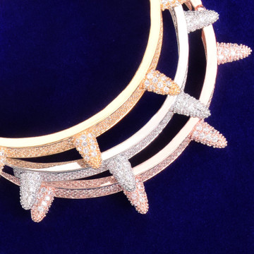 Micro Paved AAA Simulated Diamond Stone Rivet Spike Open Cuff Bangle Bracelet