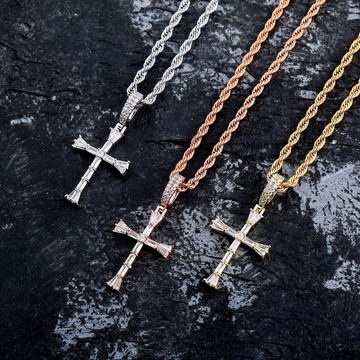 14k Silver Rose Gold All Ice Baguette Center Stone Hip Hop Cross Pendant Chain Necklace
