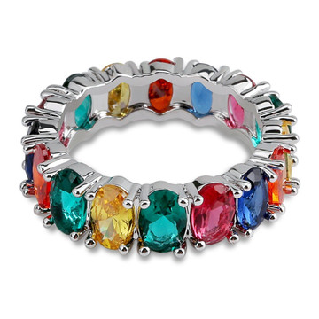 1 Row Colorful Rainbow Solitaire Band 14k gold 925 Silver Oval Stone Rings