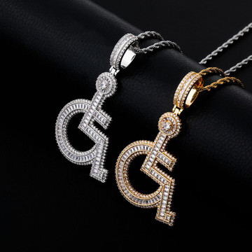 14k Gold 925 Silver Flooded Ice Baguette Wheelchair Baguette Pendant Chain Necklace