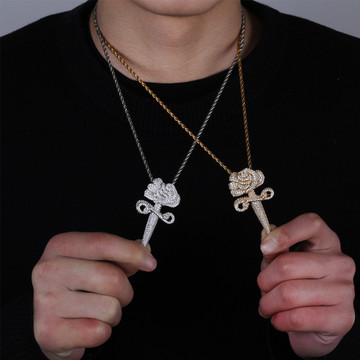 Love and War Flooded Ice Rose Flower Dagger 14k Gold 925 Silver Hip Hop Pendant Chain Necklace
