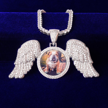18k Gold 925 Silver Flooded Ice Solid Back Angel Wings Memory Picture Photo Pendant