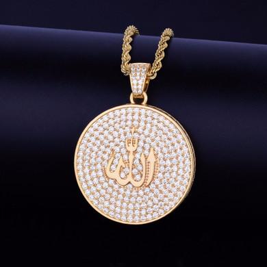 24k Gold Circle AAA Micro Pave Allah Pendant