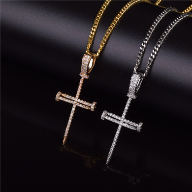 Jesus Iced Out Lab Diamond Nail Cross Pendant