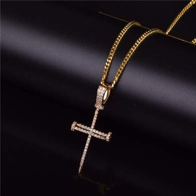 22k Gold .925 Silver Jesus Nails AAA Micro Pave Cross Pendant Chain Necklace