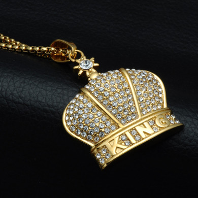 14k Gold Flooded Ice King Crown AAA Stone Stainless Steel Hip Hop Pendant