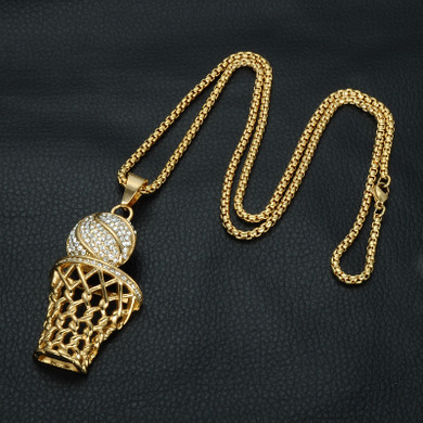 Hip Hop 18k Gold Full Simulated Diamond 316L Stainless Steel Basketball Chain Pendant