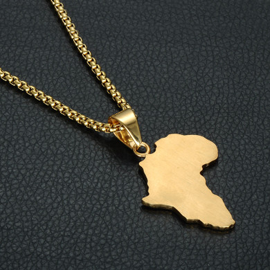 Lab Diamond Africa Map 14k Gold Stainless Steel Chain Pendant