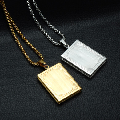 Mens Stainless Steel Bible Book Prayer Open Photo Frame Chain Pendant