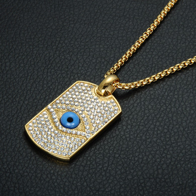 Hip Hop Flooded Ice All Seeing Eye Pendant Bling 14k Gold Titanium Dog Tag Necklace
