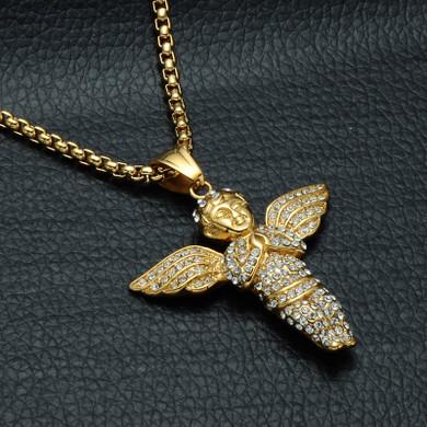 Angel Of Peace 14k Gold Stainless Steel Cherub Pendant