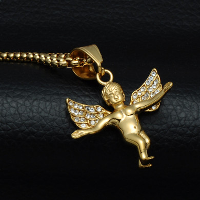 Mens 14k Gold Open Arm Angel Of Love Stainless Steel Cherub Pendant Chain Necklace