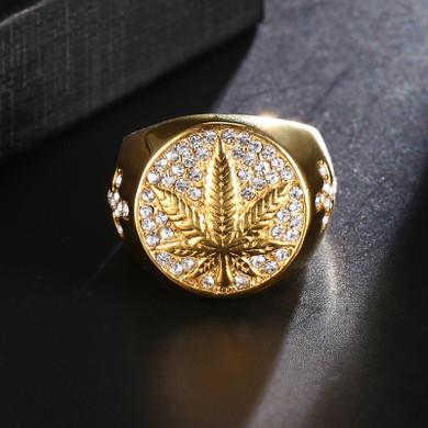 Weed leaf Cannabis Hip Hop Ring