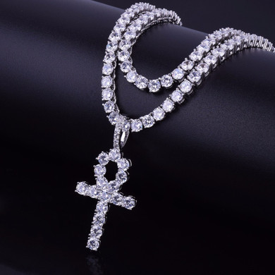 22k Gold .925 Silver Ankh Cross AAA Handset Micro Pave Tennis Chain Pendant