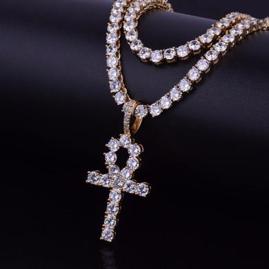 22k Gold AAA Micro Pave Ankh Cross Pendant