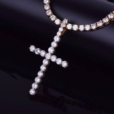 22k Gold .925 Silver 5mm Flooded Ice AAA Micro Pave All Iced Classic Cross Hip Hop Pendant Chain Necklace