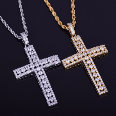 Mens 18k Gold .925 Silver Ultra Ice Silver Hip Hop AAA Micro Pave Cross Pendant Chain Necklace