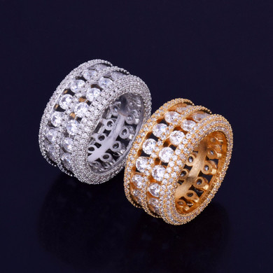 Ultra Baller 7 Row Solitaire 18k Gold .925 Silver AAA True Micro Pave Handset Stone Ring
