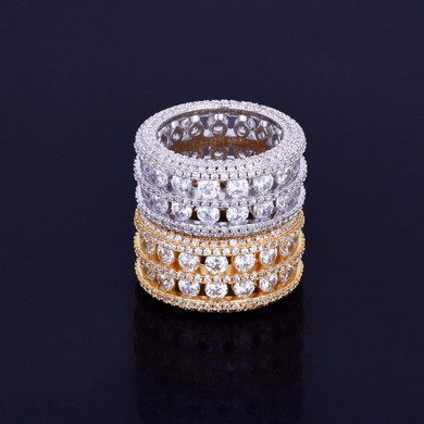 18k Gold .925 Silver Ultra Baller 7 Rows Of Ice Handset Stone Ring