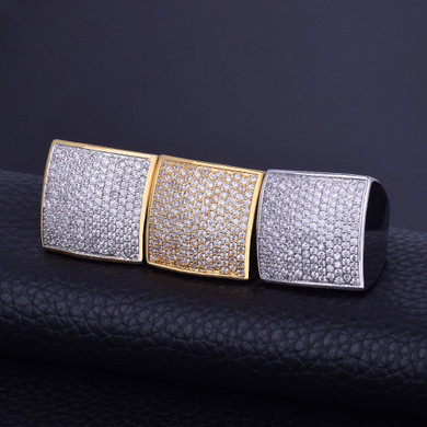 AA True Micro Pave Flooded Ice Squared 18k Gold .925 Silver Big Boy Bling Ring