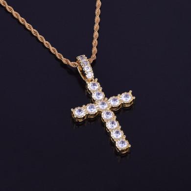 22k Gold Flooded Ice Cross Pendant