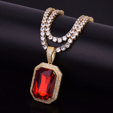 Flooded Ice Ruby Red Gemstone Hip Hop Pendant With 4mm Tennis Chain Necklace