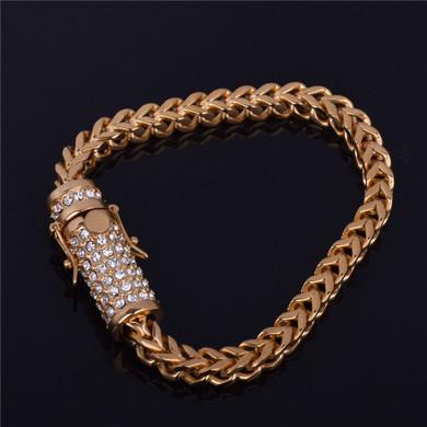 18k Gold Over Stainless Steel Franco Link Bracelet
