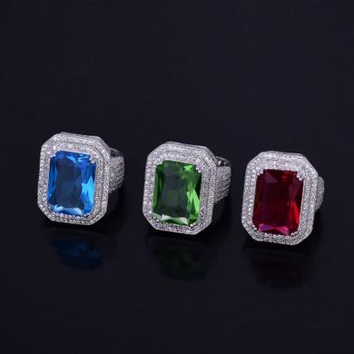 Mens Green Emerald Onyx Lab Diamond Micro Pave Gemstone Ring Silver