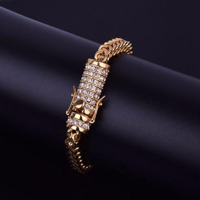 14k Gold Box Clasp Lab Diamond Fox Franco Link Stainless Steel Bracelet