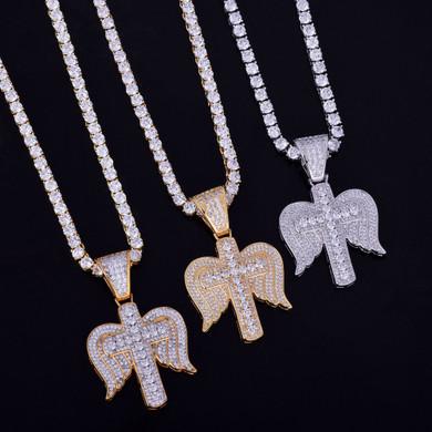 18k Gold Angel Wings Cross Pendant