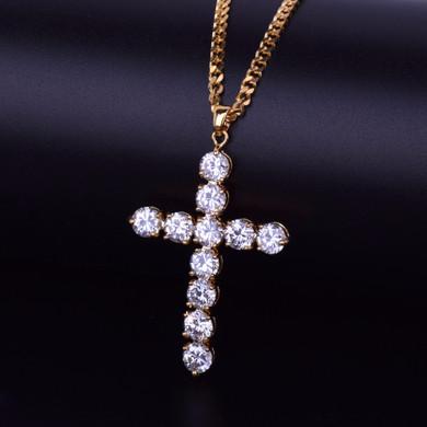 24k Gold Cluster Stone Iced Cross Pendant