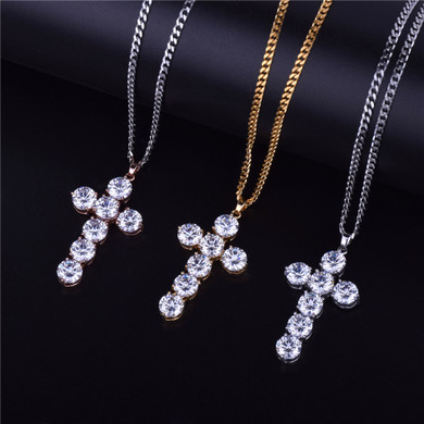 24k .925 Silver Rose Gold Handset AAA Ice Stone Cross Pendant Chain Necklace