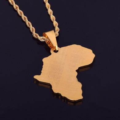 Simulate Diamond Africa Map 14k Gold Bling Bling Pendant Chain Neckalce