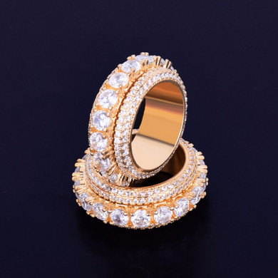 18k Gold Solitaire Flooded Ice AAA True Micro Pave Rings