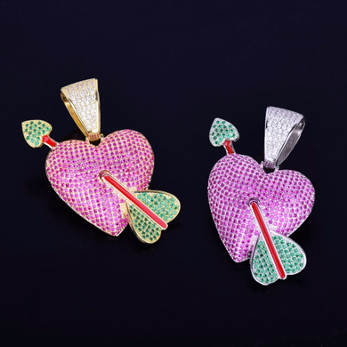 AAA Micro Pave Purple Heart Pendant