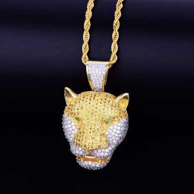 24k AAA Micro Pave Leopard Head Green Eye Two Tone Hip Hop Pendant Chain Necklace