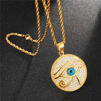 Ancient African Eye Of Ra Egyptian Iced Out Round Pendant