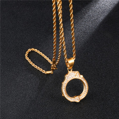 Iced Out 14k Gold Lab Diamond Stainless Steel Locked Handcuff Pendant