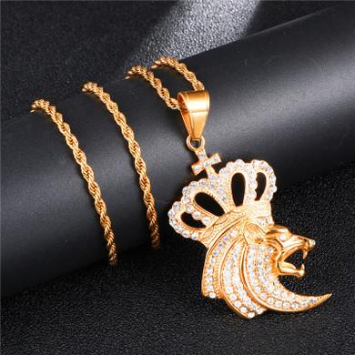 King Crown Roaring Lion Titanium Stainless Steel Pendant
