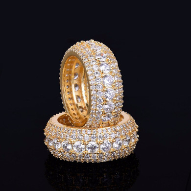 18k Gold Flooded Ice 5 Row AAA True Micro Pave Ring