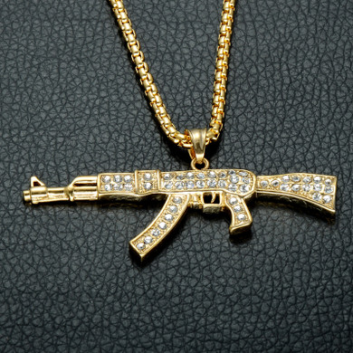 Flooded Ice AK47 Chopper Gun 14k Gold Stainless Steel Pendant Chain Necklace