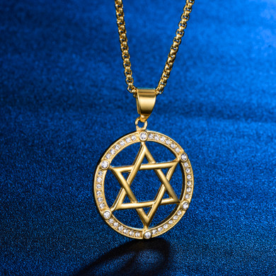 6 Stone Hollow Star of David 14k Gold Stainless Steel Pendant
