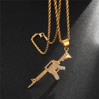 M-16 14k Gold Stainless Steel Bling Pendant