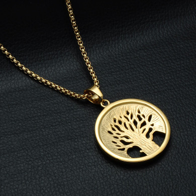 Tree of Life 14k Gold Stainless Steel Lab Diamond Pendant Chain Necklace