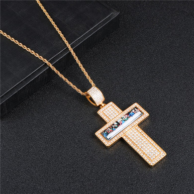 Art Deco 14k Gold Bling Last Supper Stainless Steel Painting Cross Pendant Chain Necklace
