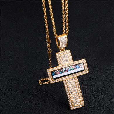 Last Supper Flooded Ice Painting Cross Pendant