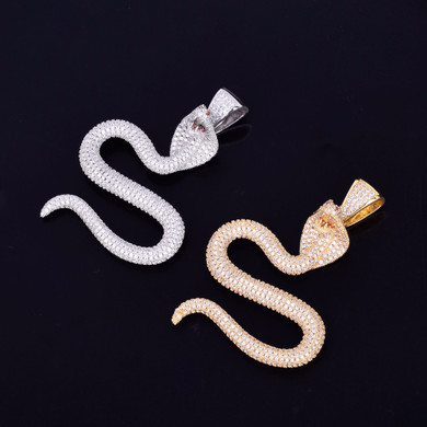 The King Cobra 24k Gold Flooded Ice Micro Pave Snake Pendant Chain Necklace