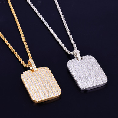 Total Ice 24k Gold .925 Silver Micro Pave Square Piece Hip Hop Pendant Chain Necklace